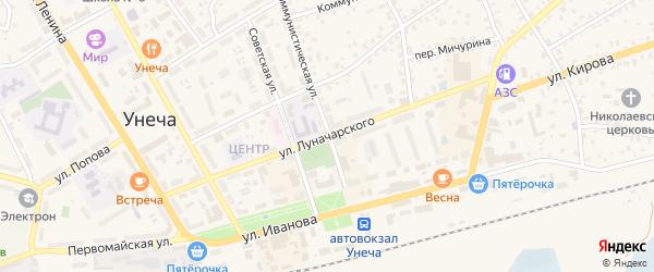 Улица Луначарского на карте Унечи с номерами домов