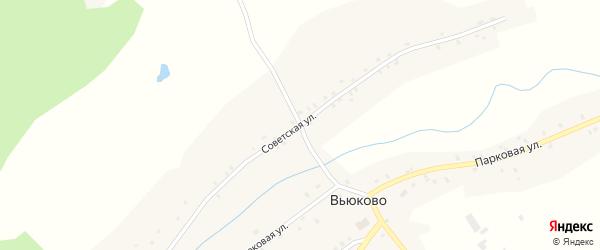 Советская улица на карте деревни Вьюково с номерами домов