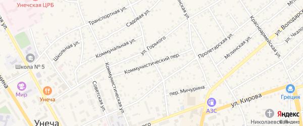 Коммунистический переулок на карте Унечи с номерами домов