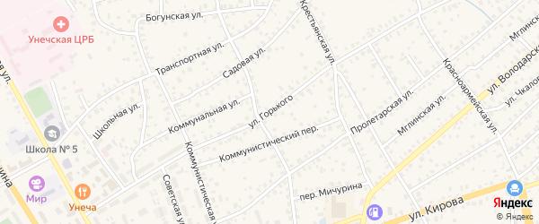 Улица Горького на карте Унечи с номерами домов