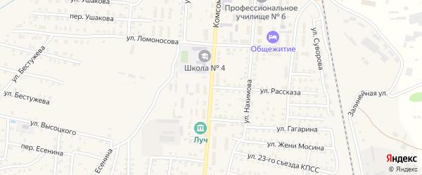 Комсомольская улица на карте Унечи с номерами домов