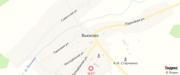 Школьный переулок на карте деревни Вьюково с номерами домов