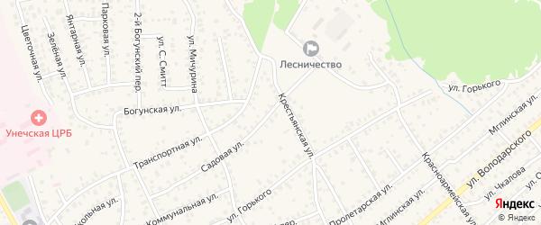 Садовая улица на карте Унечи с номерами домов