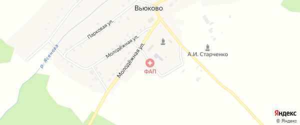 Сентябрьский переулок на карте деревни Вьюково с номерами домов