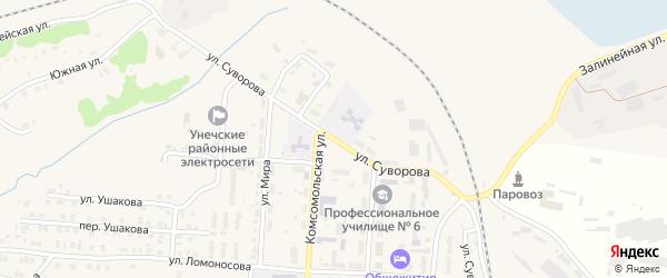 Улица Суворова на карте Унечи с номерами домов