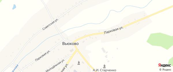 Парковая улица на карте деревни Вьюково с номерами домов