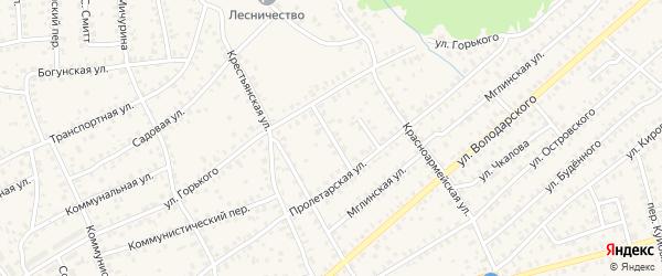 1-й Пролетарский переулок на карте Унечи с номерами домов