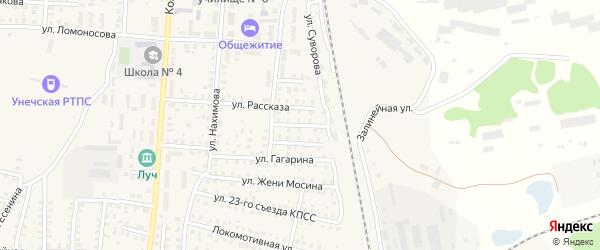 Переулок 2-й Ломоносова на карте Унечи с номерами домов
