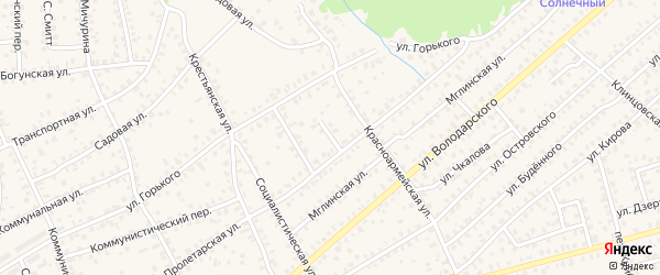 2-й Пролетарский переулок на карте Унечи с номерами домов
