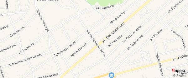 Красноармейская улица на карте Унечи с номерами домов