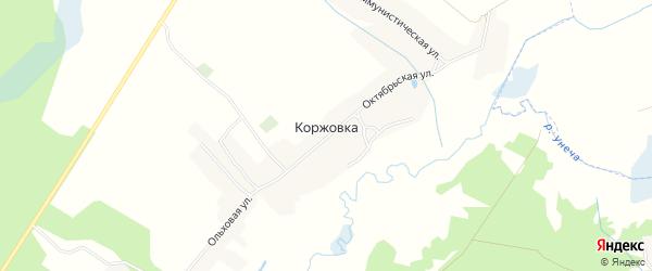 Карта деревни Коржовки в Брянской области с улицами и номерами домов