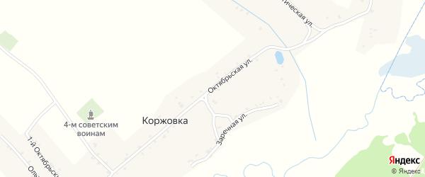 Октябрьская улица на карте деревни Коржовки с номерами домов