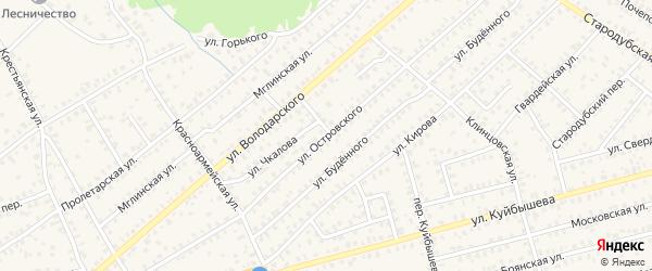 Улица Островского на карте Унечи с номерами домов