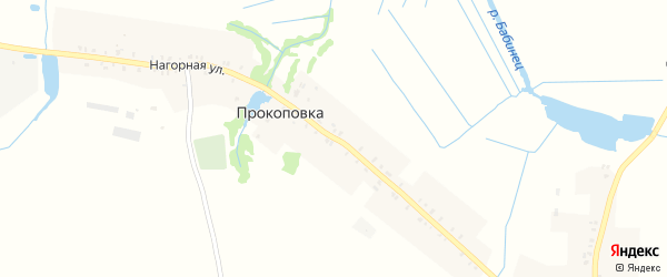 Нагорная улица на карте деревни Прокоповки с номерами домов