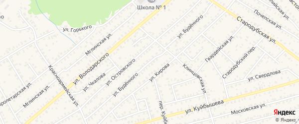 Улица Буденного на карте Унечи с номерами домов