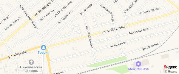 Переулок Куйбышева на карте Унечи с номерами домов