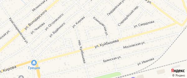 Улица Дзержинского на карте Унечи с номерами домов