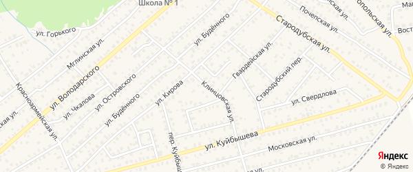 Клинцовская улица на карте Унечи с номерами домов