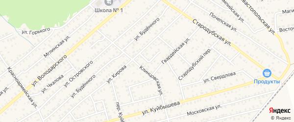 Переулок Кирова на карте Унечи с номерами домов