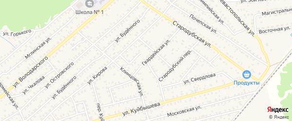 Гвардейская улица на карте Унечи с номерами домов