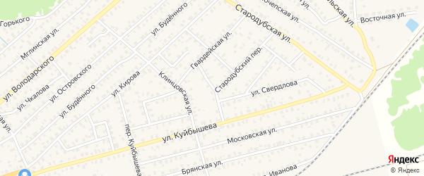 Гвардейский переулок на карте Унечи с номерами домов