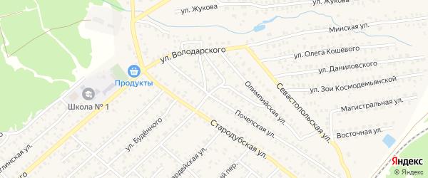 Переулок Энергетиков на карте Унечи с номерами домов