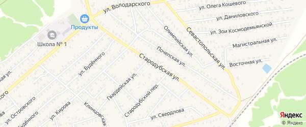 Стародубская улица на карте Унечи с номерами домов