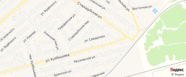 Улица Свердлова на карте Унечи с номерами домов