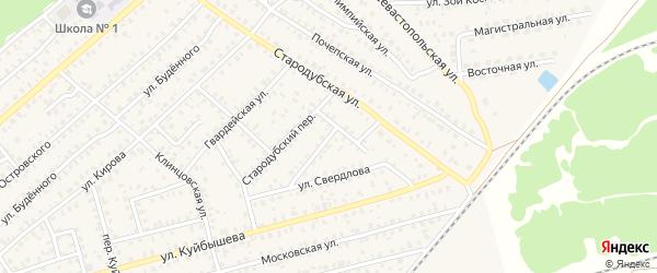 Переулок 2-й Свердлова на карте Унечи с номерами домов