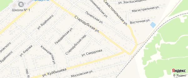 Переулок 1-й Свердлова на карте Унечи с номерами домов