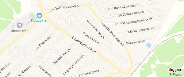 Почепская улица на карте Унечи с номерами домов