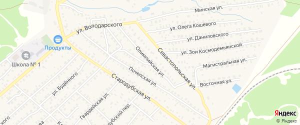 Олимпийская улица на карте Унечи с номерами домов