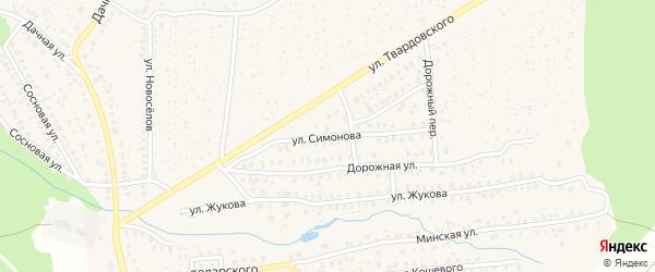 Улица Симонова на карте Унечи с номерами домов