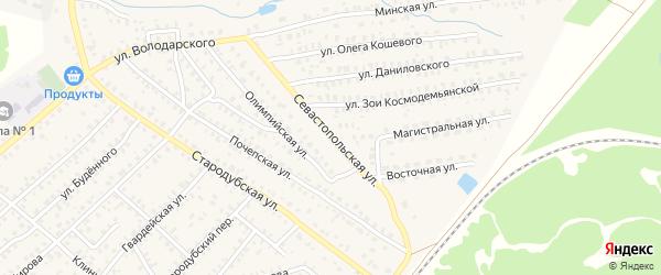 Севастопольская улица на карте Унечи с номерами домов