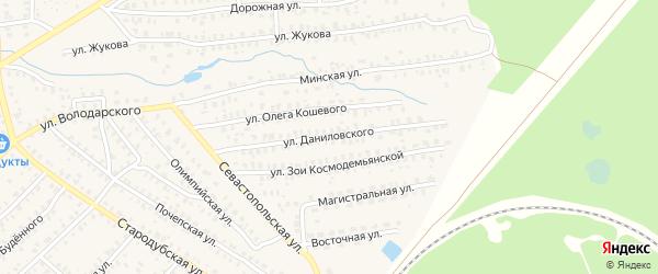 Улица Даниловского на карте Унечи с номерами домов
