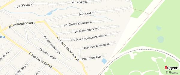Улица Зои Космодемьянской на карте Унечи с номерами домов