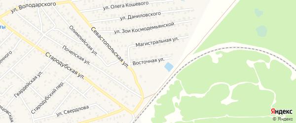 Восточная улица на карте Унечи с номерами домов