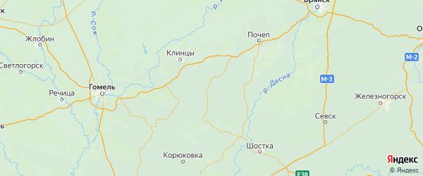 Карта Стародубского района Брянской области с городами и населенными пунктами