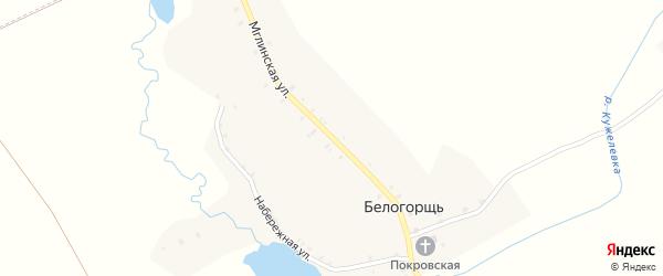 Мглинская улица на карте села Белогорщь с номерами домов