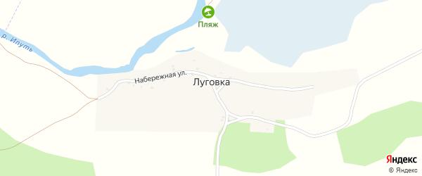 Набережная улица на карте деревни Луговки с номерами домов