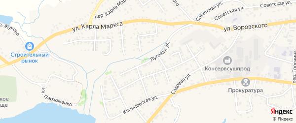 Луговая улица на карте Стародуб с номерами домов
