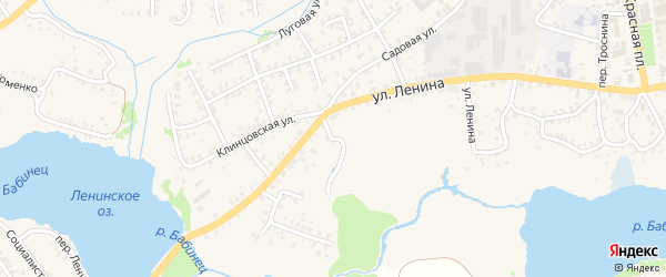 Луговой переулок на карте Стародуб с номерами домов
