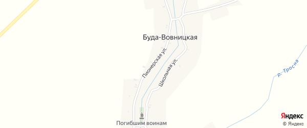 Пионерская улица на карте Буды-Вовницкой деревни с номерами домов