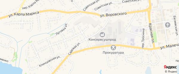 Садовая улица на карте Стародуб с номерами домов