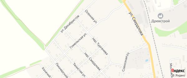 Переулок Тургенева на карте Стародуб с номерами домов