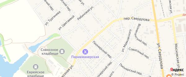 Пионерский переулок на карте Стародуб с номерами домов