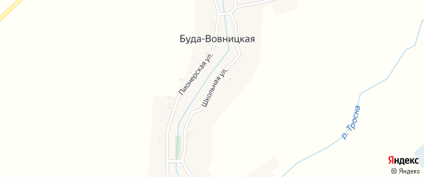 Школьная улица на карте Буды-Вовницкой деревни с номерами домов