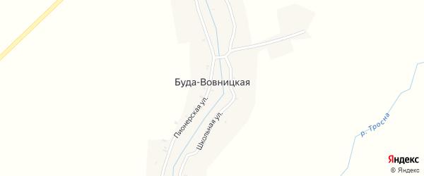 1-й Школьный переулок на карте Буды-Вовницкой деревни с номерами домов