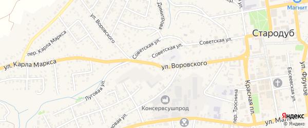 Улица Воровского на карте Стародуб с номерами домов