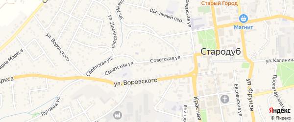 Советская улица на карте Стародуб с номерами домов